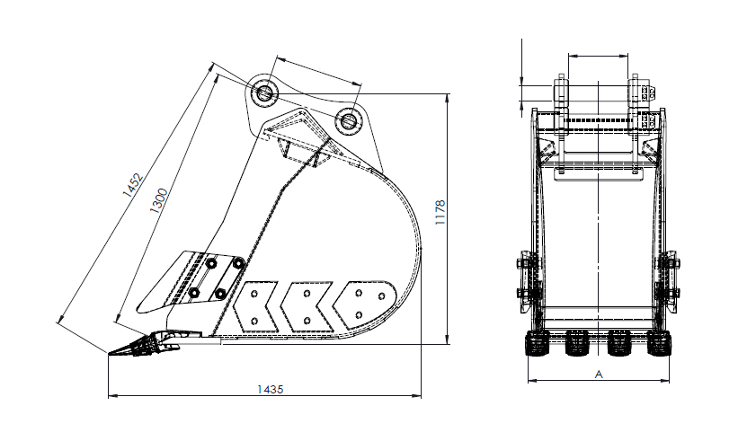 20T-23T digging bucket line structure