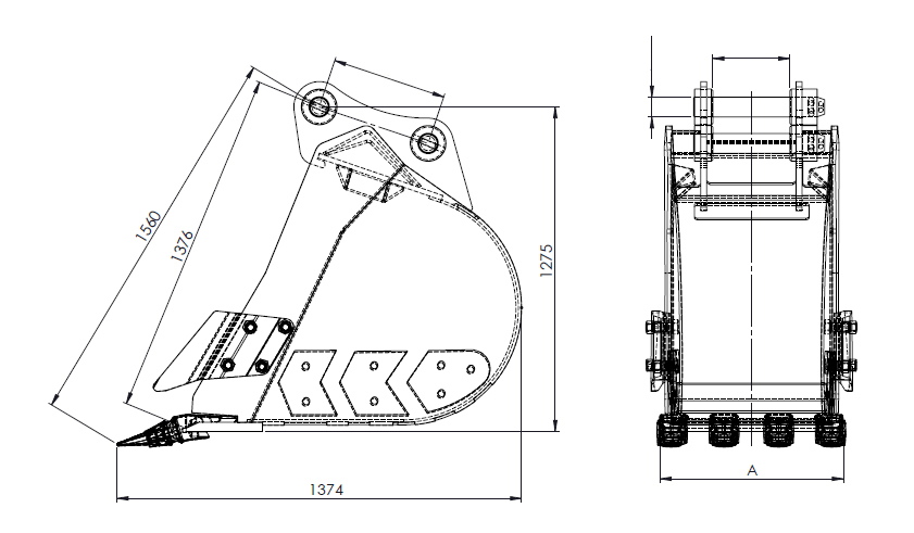 25T-40T digging bucket line structure